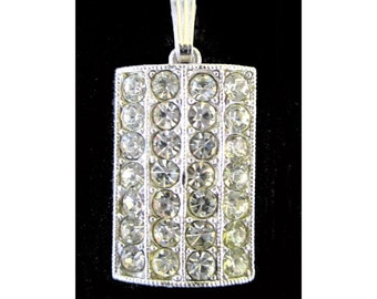 White Rhinestone Pendant * Pave Rhinestones * Classic Vintage * Gift For Her