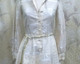 Vintage 1960s Cream Brocade Mini Dress/Peck & Peck/Cream Mini Dress