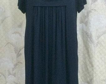 Vintage 1970s Black Chiffon Maxi Dress/Black Chiffon Gown