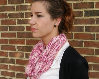 Pink hand knitted cowl, Wool and Acrylic