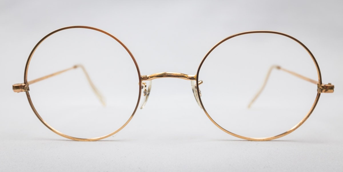 Real Gold Eyeglass Frames : REAL Vintage 1950s Round 12K Gold Filled Glasses Size 48