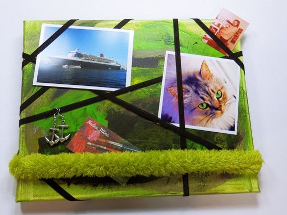 Green Velcro pinboard Board picture frame Jewelry Board Pinboard 24 x 30 cm single piece green unique