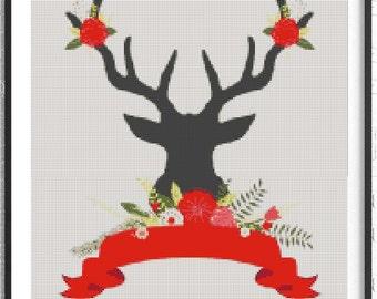 Christmas Deer cross stitch - Red Christmas cross stitch pattern PDF, Christmas Deer-Cross Stitch-Modern Sampler-Pdf-Instant Download