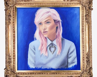 Portrait of Young Woman With Pink Hair, Oil Painting Portrait