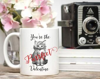 Cat Valentine Mug / You're the Purrfect Valentine / Cute Kitten Mug / Cat Mug / Kitten Mug / 11 or 15 oz