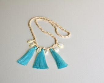 Long tassel shell necklace