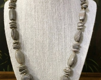 30'' Gray stone necklace.