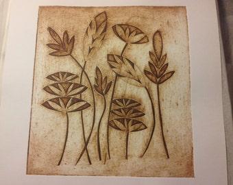 Handmade Collagraph print Seedheads 1
