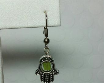 Hamsa HandEarrings with green sead bead insert
