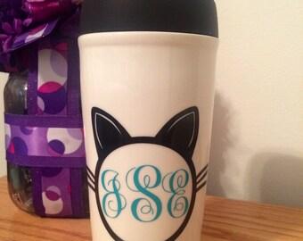 Monogrammed Cat Head// Cat Travel Mug// I Freaking Like Cats, Okay.