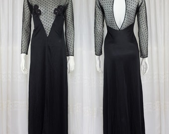 Beautiful black night gown with amazing details!! 40's 50's
