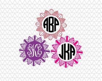 Flower Monogram, Flower Monogram SVG, Mandala Monogram SVG, Monogram Frame SVG, Flower Monogram, mandala svg, svg, dxf, digital cut file