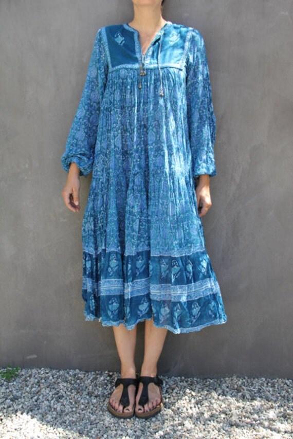 Vintage Indian Cotton Gauze Rare Phool Dress Blue Small Medium