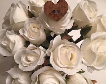 Wooden Heart Button Ring