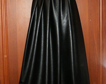 Black Eco Leather Long Skirt Leatherette skirt Elastic Waist