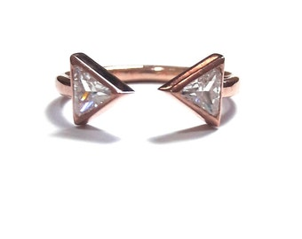 14K Gold Diamond Ring-Diamond Ring-Gold Ring-14K Rose Gold Ring-14K Gold Triangle Ring