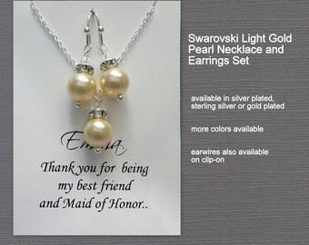 Swarovski Light Gold Pearl Bridesmaid Jewelry Set, Light Gold Wedding Jewelry Set, Bridesmaid Jewelry Set, Maid of Honor Gift Bridal Jewelry