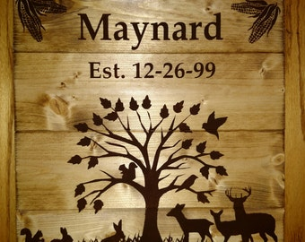 Personalized Wildlife Wood Sign