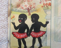 Vintage Black Americana Gold Dust Display Advertisement, Early Century Antique Gold Dust Display Ad