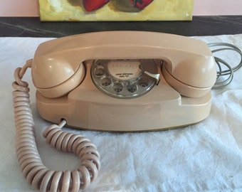 Vintage Rotary Dial Princess Phone, Retro Telephone, Cord, United Telephone System