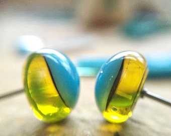 Fused glass studs, unique glass earrings, blue and yellow earrings, statement jewelry, blue studs