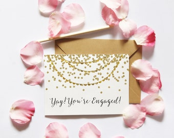 Yay You're Engaged Card, Printable Engagement Card, Confetti Card, Printable Card, Engagement Card DIY, Bride To Be, Digital Download, UK
