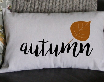 Autumn Pillow, Fall Pillow, Holiday Pillow, Burlap Pillow, Decorative Pillow,  12x16 Pillow, Throw Pillow, Home Decor