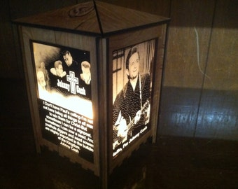 Table lamp, Johnny Cash, etched glass