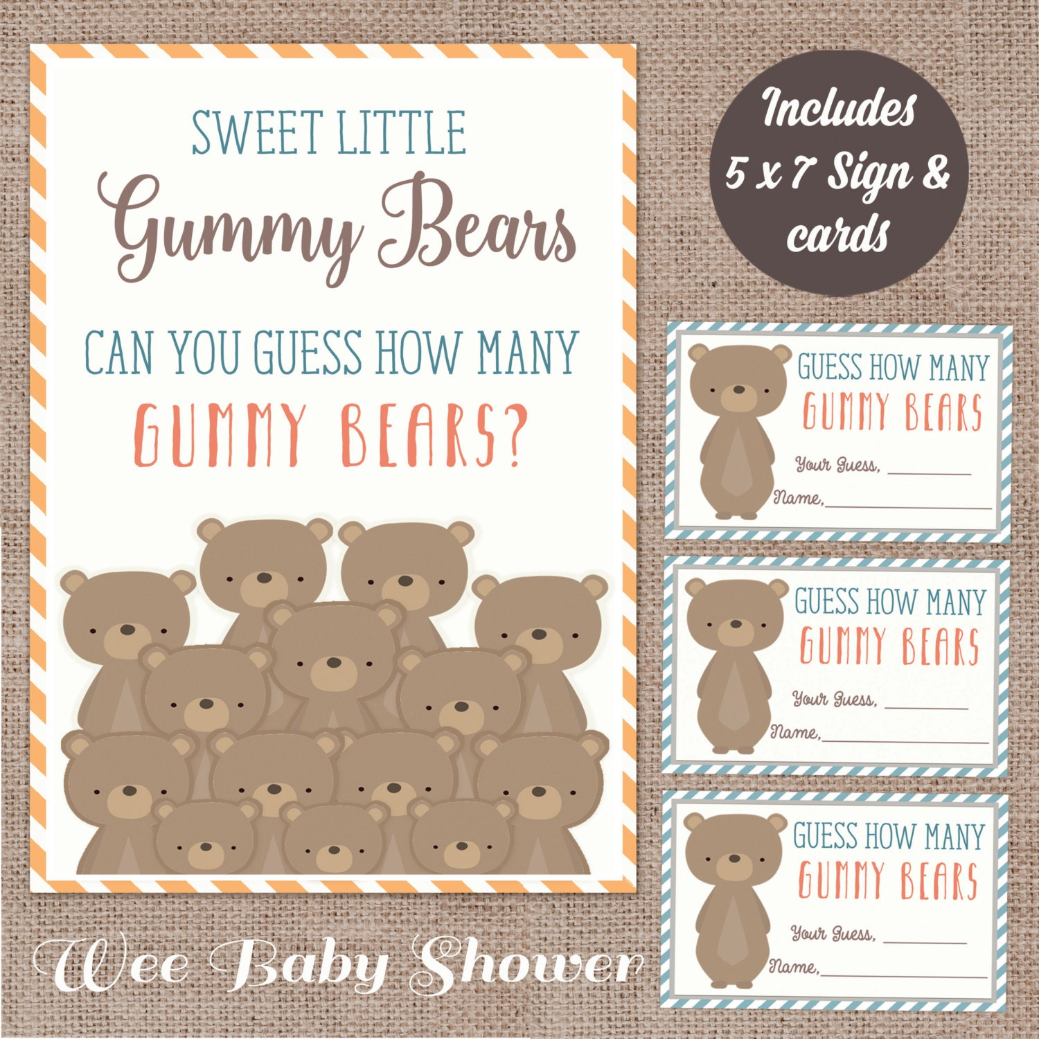 Woodland Baby Shower Gummy Bear guessing game