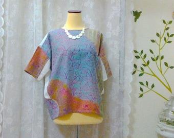 Boho clothing, Bohemian Blouse, loose Top, one-of-kind, handmade,Tunic, Batik clothing,cotton Dobi, hippie clothing