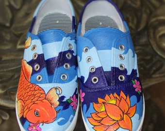 KOI Custom hand painted  canvas sneakers