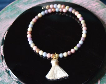 Czech glass beaded cuff bracelet with cream tassel