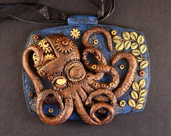 Steampunk pendant - polymer clay jewelry - steampunk octopus - steampunk animals - steampunk jewelry - woman steampunk - polymer clay