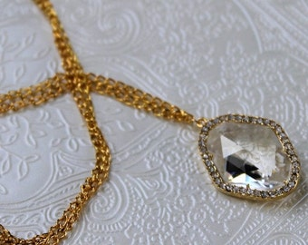 Crystal glass necklace, wedding necklace, wedding jewellery, bridal necklace, gold necklace, necklace, wedding jewelry, Annabelle necklace.