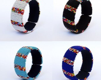 African Zulu beaded large bangle – Confetti Collection