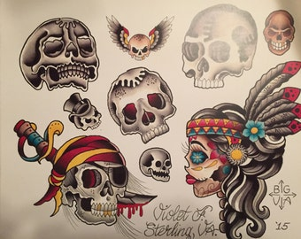 Tattoo Skulls Watercolor Flash Print