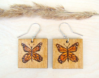 wooden earrings, butterfly earrings, square earrings, woodburned earrings, pyrography earrings, natural earrings, unique earrings