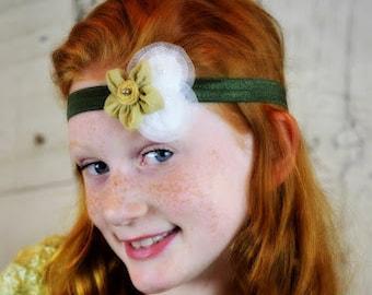 Girls Headband, Girls Bow, Baby Headband, Baby Bow, Girls Hair Clip, Flower Bow, Flower Headband, Green, Baby Girl, Headband, Bow, Girls