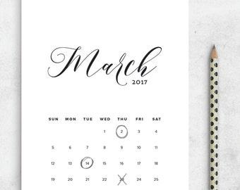 Printable Calendar 2017, Calligraphy Calendar Planner 2017 PDF, A4 UsLetter A5 Calendar Printable Wall Calendar Calligraphy Instant Download
