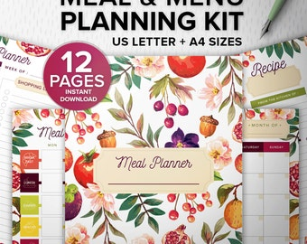 Meal and Menu Planning Kit 12 pages PDF - Printable meal planner - Meal Planning kit, A4/Us Letter, Fitness Desk Manager INSTANT Download