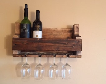 4 Glass Wine Rack, Rustic Wine Rack, Housewarming Gift, Wedding Gift, Wooden Wine Rack, Distressed Wine Rack, Gift for Her, Custom Wine Rack
