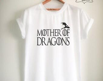Mother of Dragons Shirt Khaleesi T Shirt Tumblr Fashion Women Men Unisex Top Tee Black/White/Grey/Red