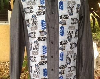Star Wars R2D2 Men's Shirt. Vintage R2D2 Fabric. Size Small