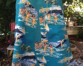 Hawaiian Tiki Retro 50's Rockabilly Skirt or Dress Hawaiian Hula Girls Surfers Size XS Small SALE