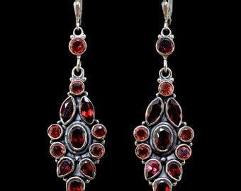 Garnet earrings,Victorian earrings,Handmade earrings,Leverback earrings,Black Sterling Silver earrings