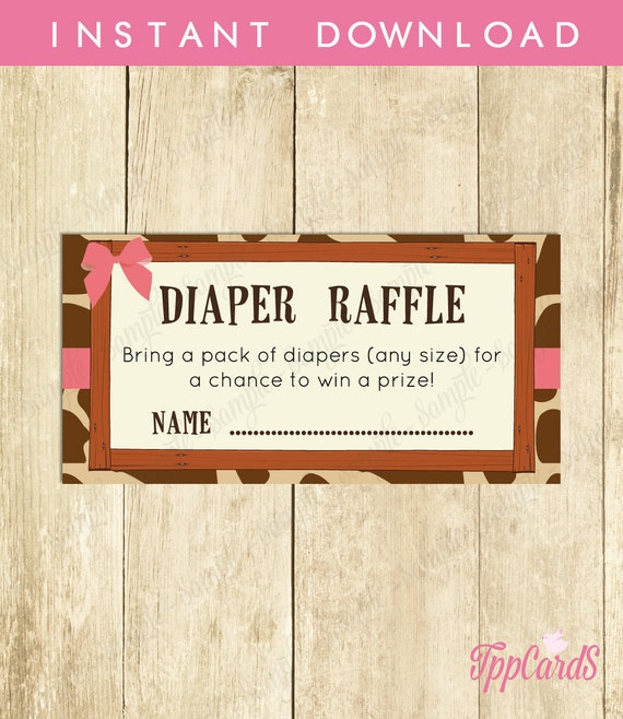 Instant Download Giraffe Diaper Raffle Cards, Brown Pink