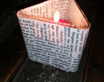 Jane Austen book pages candle holder, Book pages votive holder