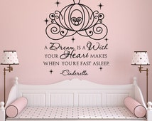 Cinderella Carriage Wall Decals For Girls- A Dream Is A Wish Your Heart Makes Quote Wall Decal- Fairy Wall Decal Girls Bedroom Decor 046
