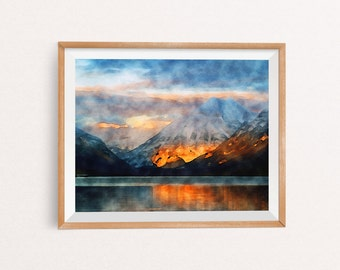 Mountain Watercolor, Mountain Wall Art, Mountain Wall Decor, Mountain Print, Mountain Decor, Watercolor Mountain, INSTANT DOWNLOAD, 8x10