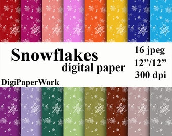 Snowflakes Digital Paper Christmas paper Instant download Snowflakes background for Personal and Commercial Use